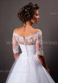 off shoulder lace wedding bolero jacket back fastening buttons