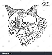 stylized sketch cat hand drawn cartoon stock vector 493884472