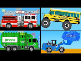 bus monster truck videos learning colors collection vol 1 learn colors with