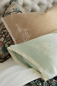 ticking stripe pillowcase pair lace trim pillowcase embroidered