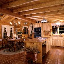 log cabin decorating ideas with bed and table lamp also cabinet as