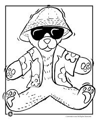 summer teddy bear coloring page animal jr
