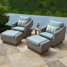furniture grey wicker patio chair with ottoman set having blue
