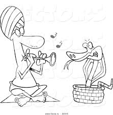 vector of a cartoon snake charmer coloring page outline by