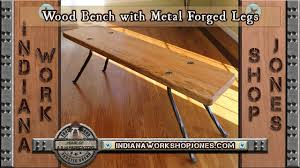 Wood Bench With Metal Legs Wood Bench With Metal Forged Legs Youtube