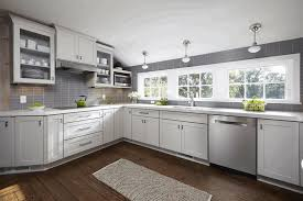 grey cabinets kitchen sleek wooden counter classy white exhaust
