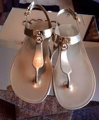 women shoes michael kors mk plate jelly flat thong sandals gold