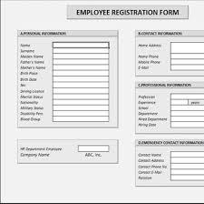 Registration Form Template Excel Employee Registration Form
