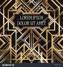 Art Deco Style Golden Abstract Geometric Background Art Deco Stock Vector