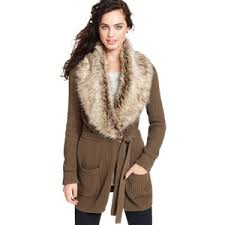 sweater with faux fur collar olive oak sweater sleeve faux fur cardigan olive