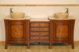 Inch Double Vessel Sink Bathroom Vanity With Travertine UVSRT - Bathroom vanities double vessel sink