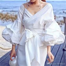 White Blouse With Black Bow Discount 2017 Autumn Women Fashion White Black Ruffles Blouse V