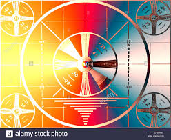 tv color test pattern on high definition screen stock photo