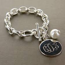 engraved charms engraved silver plated bracelet with pearl charm www