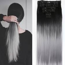 silver hair extensions neverland beauty 24 synthetic two tone ombre hairpiece