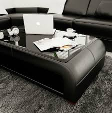 divani casa ev30 modern black bonded leather coffee table w glass top