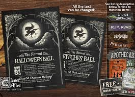 halloween invitation witches ball invite vintage witch u0027s