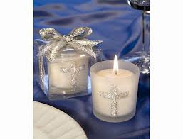 themed candles silver cross themed candle favors by favorwarehouse