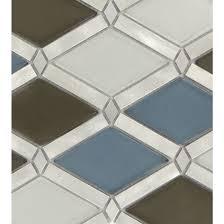 diamond blue glass and metal diamond tile glossy brushed fgs221