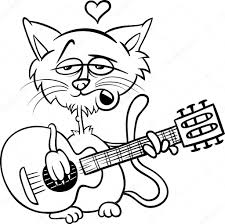 cat in love cartoon coloring page u2014 stock vector izakowski 38028023