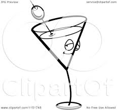martini clip art cartoon clipart of a black and white martini character vector