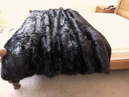 Faux Fox Fur Throw Amazon Com Starose Black Fox Faux Fur Throw Blanket Fake Fox Fur