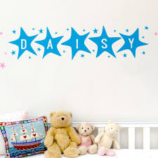 personalised large name in stars wall sticker by bloobry