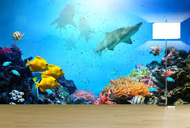 exotic underwater wall mural ideas for your living rooms mural empty living room