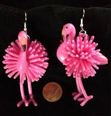 huge funky pink flamingo earrings tropical bird luau beach party