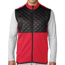 new adidas golf men u0027s climaheat prime quilted full zip vest red