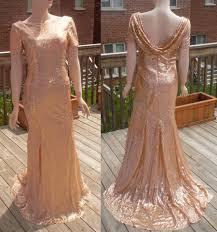 cowl back dress rose gold sequin bridesmaid dress rose gold
