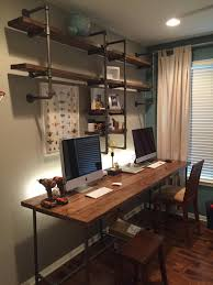 pipe u0026 wood office custom desk desk shelves and pipes