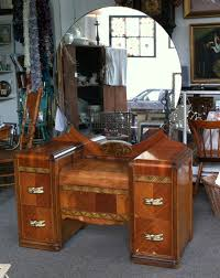 antique dressing table with mirror 1930 1940 s art deco wood inlay vanity dressing table with round
