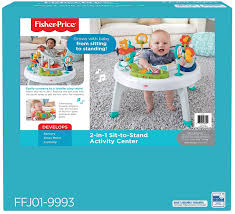 sit to stand activity table amazon com fisher price 2 in 1 sit to stand activity center spin