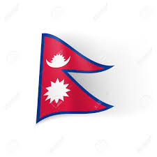 Blue Flag White Star National Flag Of Nepal Blue Bordered Red Field With White Star