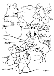 rudolph red nosed reindeer coloring pages playing snow