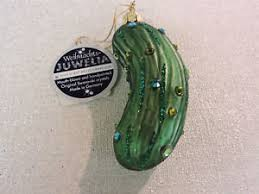 swarovski studded pickle blown glass ornament nwt inge