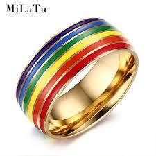 verlobungsring silber oder gold milatu edelstahl homosexuell stolz ringe regenbogen