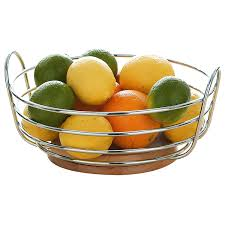 Fruit Bowl by Premier Housewares Round Chrome Wire Fruit Bowl With Rubber Wood