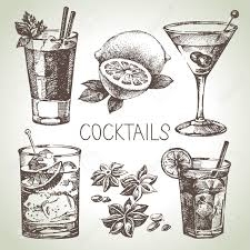 cosmopolitan drink drawing hand drawn sketch set of alcoholic cocktails vector illustration