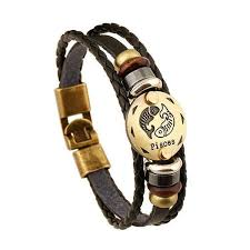 leather bracelet jewelry images Zodiac signs in bronze on leather bracelets rebel chic jewelry jpg