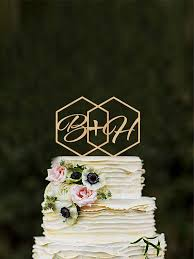 rustic monogram cake topper geometric wedding cake topper initials hexagon modern cake