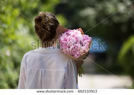 peony flower delivery woman holding peony bouquet flower delivery stock photo 662133931