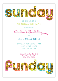 birthday brunch invitations glitter sunday funday invitation pretty paper