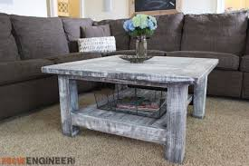 Wood End Table Plans Free by Square Coffee Table W Planked Top Free Diy Plans