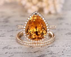 citrine engagement rings citrine diamond ring etsy