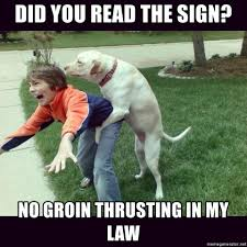 Law Dog Meme - did you read the sign no groin thrusting in my law friendly