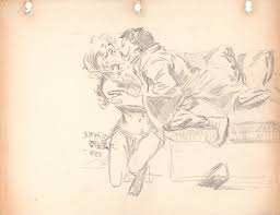 sid check couple kissing sketch 1960 in rob stolzer u0027s check