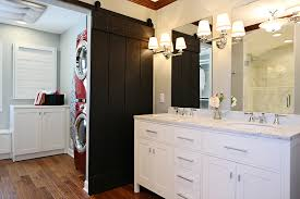 barn door ideas for bathroom small bathroom barn door herringbone bathroom pattern backsplash
