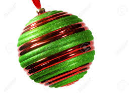 and green striped ornament hanging from ribbon